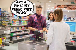 "Man with two women at checkout: ""And a go-large porno pass please."", org. image: E+"