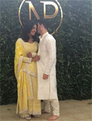 Priyanka Chopra and Nick Jonas at  their roka ceremony at the  Filmfare Middle East show in Mumbai