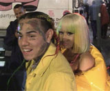 Tekashi69 with Nicki Minaj leaving the Open Ceremony's New York Fashion Week show