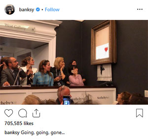 """Going, going, gone…"", Banksy on Instagram"