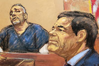 Court sketch of Alex Cifuentes testifying, image: Jane Rosenburg/Reuters