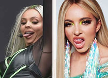 Jesy Nelson and Jade Thirlwall poking tongue