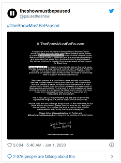 #TheShowMustBePaused, Twitter