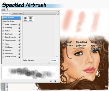 Spackled airbrush brushes