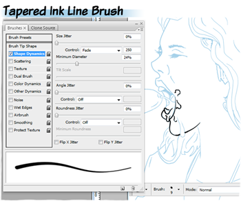 Tapered ink brushes